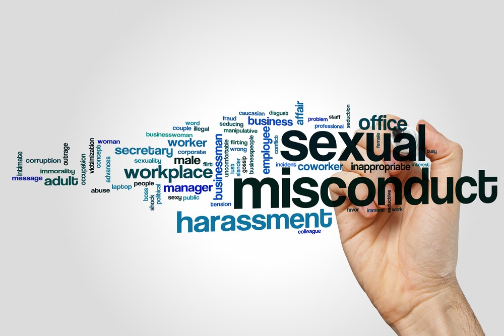 Sexual misconduct word cloud concept on grey background